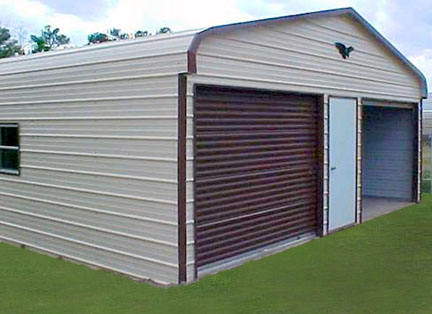Advantage Deluxe Metal Garage With Two Bays And Middle Door